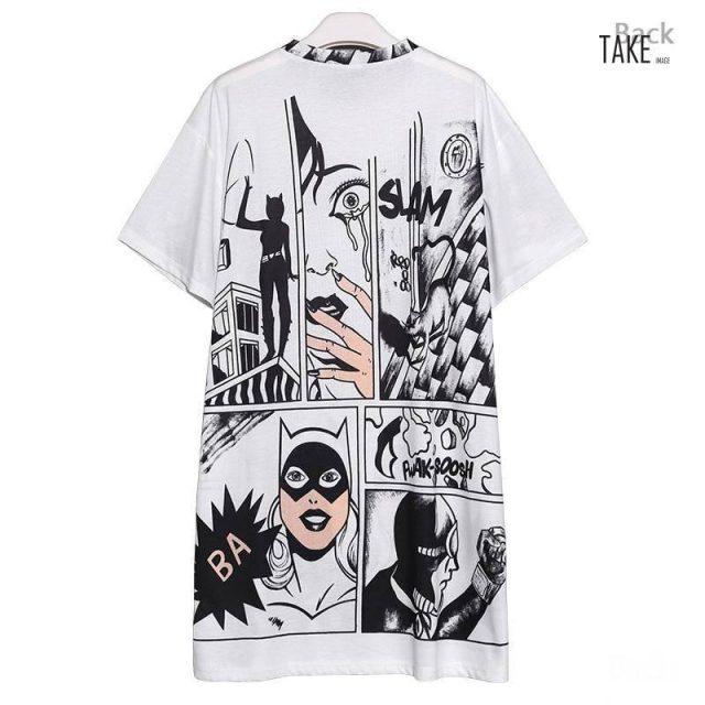 New Fashion Style Cartoon Print Casual Beach Dress Fashion Nova Clothing TAKE IMAGE