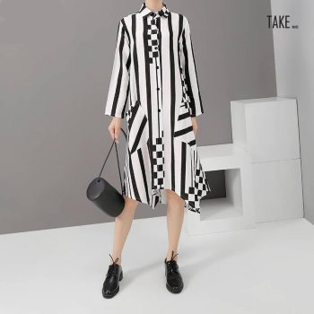 New Fashion Style Striped Long Sleeve Elegant Short Dress Fashion Nova Clothing TAKE IMAGE