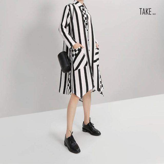 New Fashion Style Striped Long Sleeve Elegant Short Dress Fashion Nova Clothing TAKE IMAGE