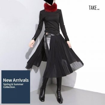 New Fashion Style Black Pleated Leather Belt High Waist Split Chiffon Skirt Fashion Nova Clothing TAKE IMAGE