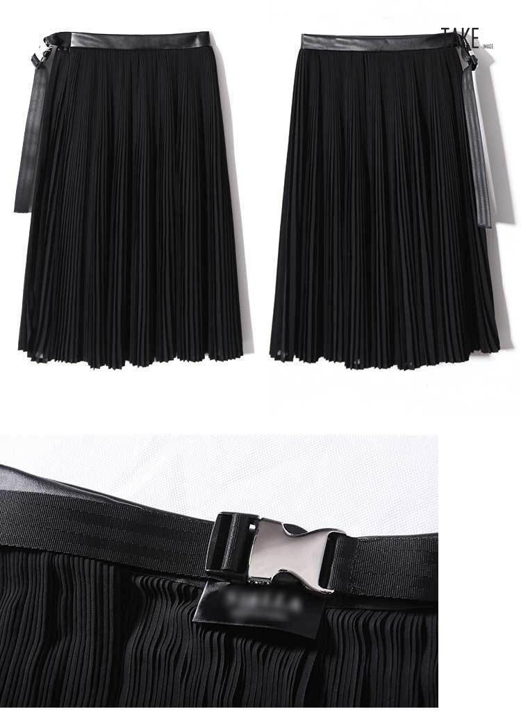 New Fashion Style Black Pleated Leather Belt High Waist Split Chiffon Skirt Fashion Nova Clothing