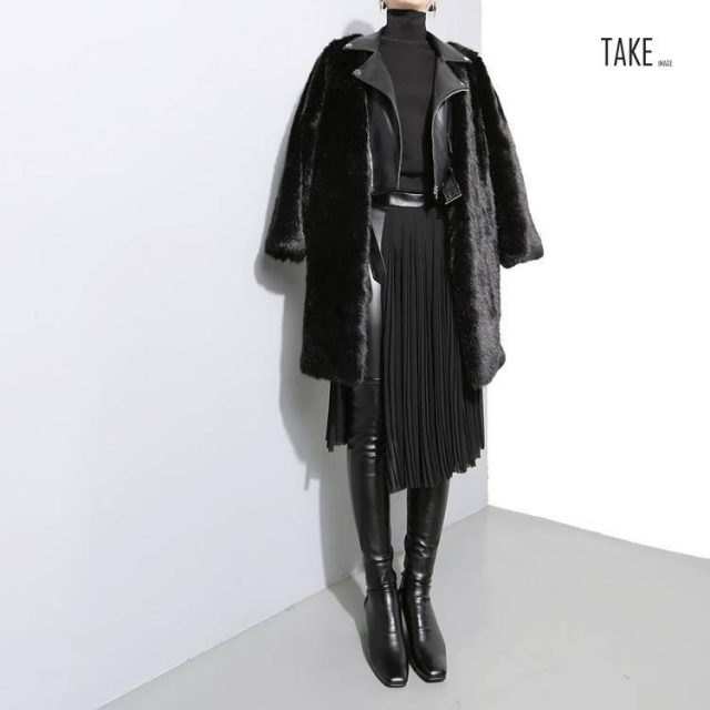 New Fashion Style Black Pleated Leather Belt High Waist Split Chiffon Skirt Fashion Nova Clothing TAKE IMAGE