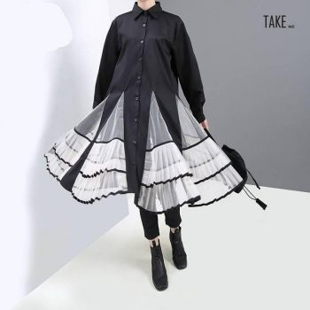 New Fashion Style Black Pleated Mesh Patchwork Shirt Dress Fashion Nova Clothing TAKE IMAGE