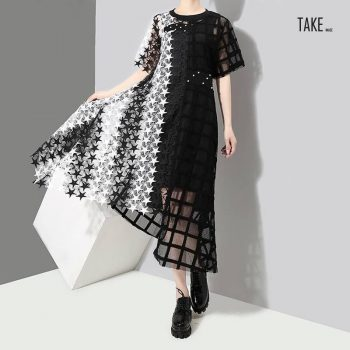 New Fashion Style Transparent Hollow Out Lace Dress Fashion Nova Clothing TAKE IMAGE
