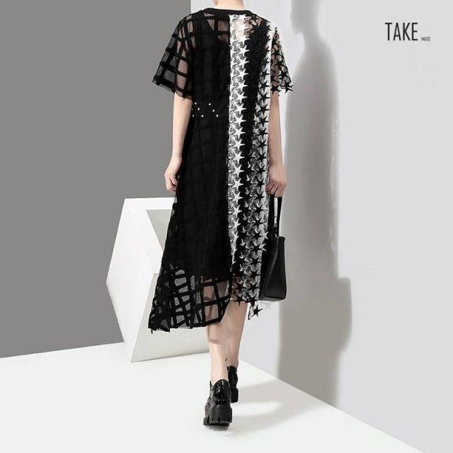 New Fashion Style Transparent Hollow Out Lace Dress Fashion Nova Clothing TAKE IMAGE