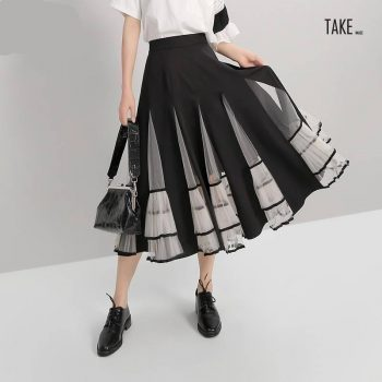New Fashion Style Elastic High Waist Mesh Patchwork A-Line Skirt Fashion Nova Clothing TAKE IMAGE