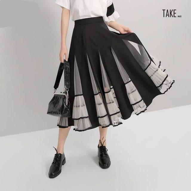 New Fashion Style Elastic High Waist Mesh Patchwork A-Line Skirt Fashion Nova Clothing TAKE IMAGE