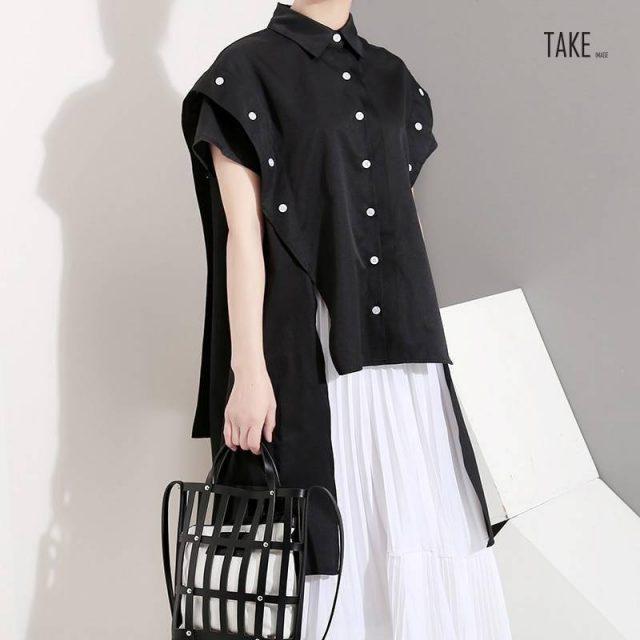 New Fashion Style Side Buttons Decorated Blouses Fashion Nova Clothing TAKE IMAGE