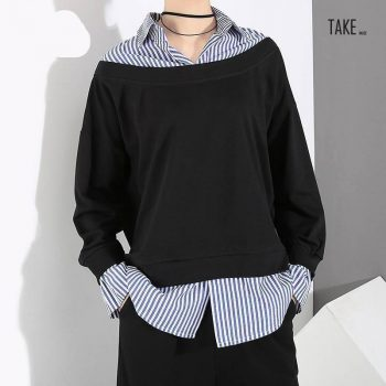New Fashion Style Fake Two Pieces Pullovers Black Sweatshirt Fashion Nova Clothing TAKE IMAGE