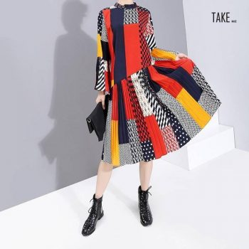 New Fashion Style Flare Sleeve Colorful Printed Patchwork Dress Fashion Nova Clothing TAKE IMAGE