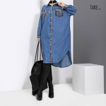 New Fashion Style Blue Striped Denim Shirt Dress Fashion Nova Clothing TAKE IMAGE