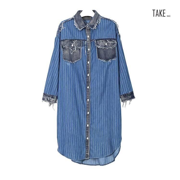 New Fashion Style Blue Striped Denim Shirt Dress Fashion Nova Clothing