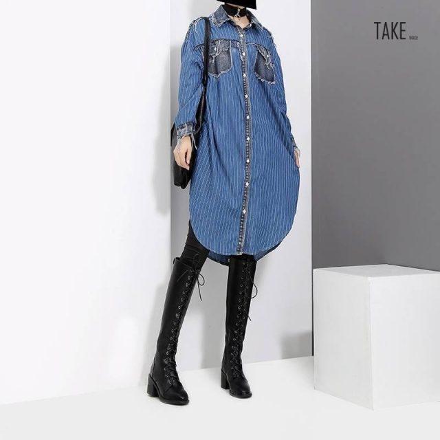 New Fashion Style Blue Striped Denim Shirt Dress Fashion Nova Clothing TAKE IMAGE