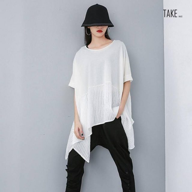 New Fashion Style Patchwork Summer Top Over Sized T-Shirt Fashion Nova Clothing TAKE IMAGE