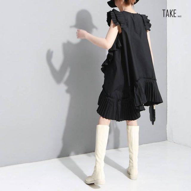 New Fashion Style Pleated Ruffles Stitched Plus Size Dress Fashion Nova Clothing TAKE IMAGE