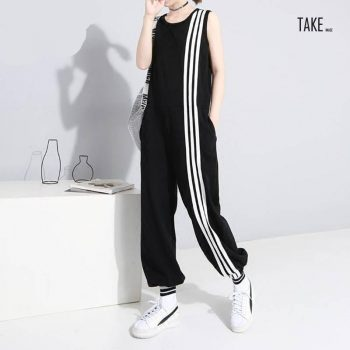 New Fashion Style Sleeveless Striped Jumpsuit Romper Fashion Nova Clothing TAKE IMAGE