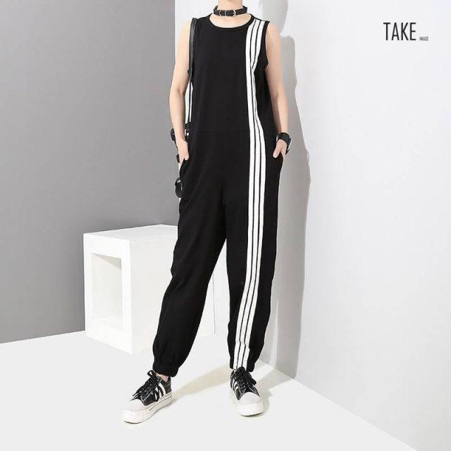 New Fashion Style Sleeveless Striped Jumpsuit Romper Fashion Nova Clothing TAKE IMAGE