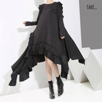 New Fashion Style Asymmetrical Plus Size Ruffles Stitched Dress Fashion Nova Clothing TAKE IMAGE
