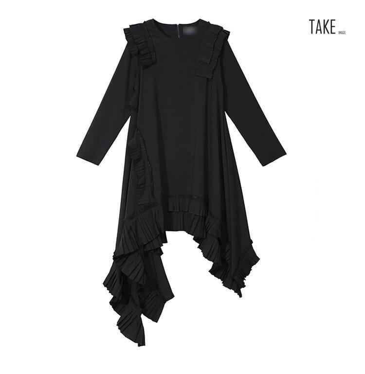 New Fashion Style Asymmetrical Plus Size Ruffles Stitched Dress Fashion Nova Clothing
