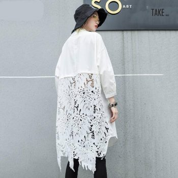 New Fashion Style Back Lace Hollow Out Spliced Big Size Shirt Fashion Nova Clothing TAKE IMAGE