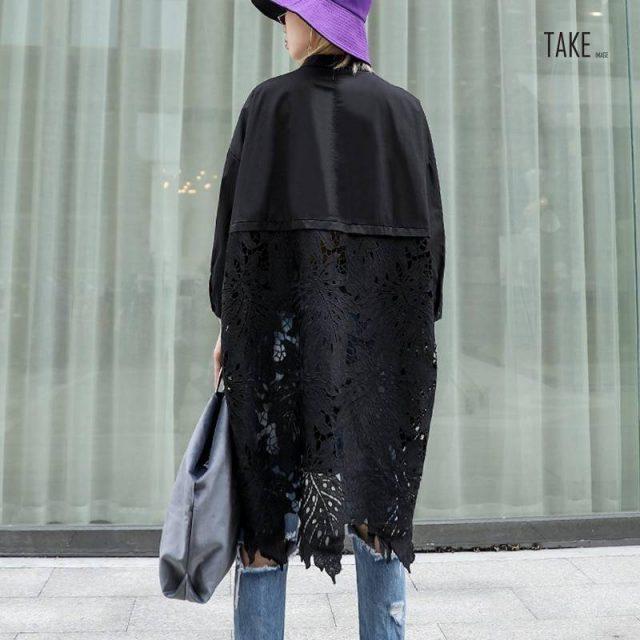 New Fashion Style Back Lace Hollow Out Spliced Big Size Shirt Fashion Nova Clothing TAKE IMAGE