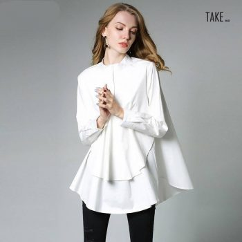 New Fashion Style Asymmetry Loose Big Size Shirt Fashion Nova Clothing TAKE IMAGE