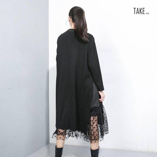 New Fashion Style Mesh Dot Split Joint Dress Fashion Nova Clothing TAKE IMAGE
