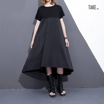 New Fashion Style Black Loose Hit Coor Back Long Pleated Stich Dress Fashion Nova Clothing TAKE IMAGE