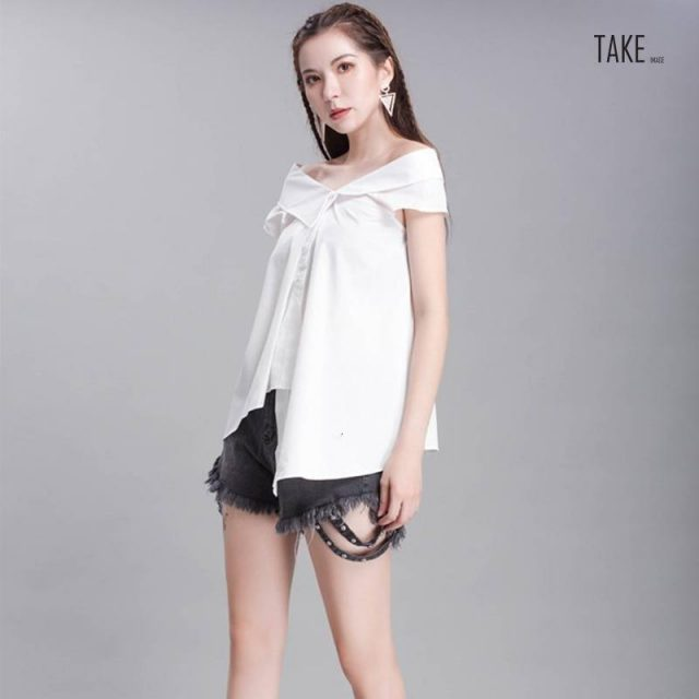 New Fashion Style Bandage Bow Asymmetrical Blouse Fashion Nova Clothing TAKE IMAGE