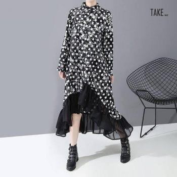 New Fashion Style Black Dot Print Chiffon Asymmetrical Shirt Dress Fashion Nova Clothing TAKE IMAGE