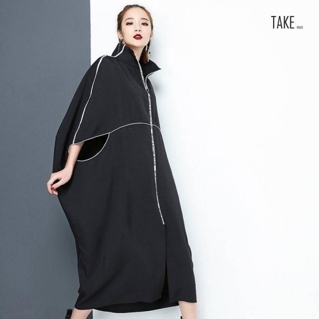 New Fashion Style Black Letter Zipper Irregular Big Size Dress Fashion Nova Clothing TAKE IMAGE