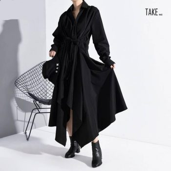 New Fashion Style Black Asymmetrical Bandage Long Shirt Dress Fashion Nova Clothing TAKE IMAGE