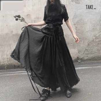 New Fashion Style High Elastic Waist Black Asymmetrical Split Skirt Fashion Nova Clothing TAKE IMAGE