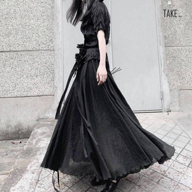 New Fashion Style High Elastic Waist Black Asymmetrical Split Skirt Fashion Nova Clothing TAKE IMAGE