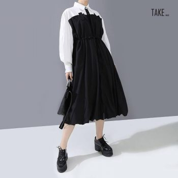 New Fashion Style Black Contrast Color Drawstring Shirt Dress Fashion Nova Clothing TAKE IMAGE