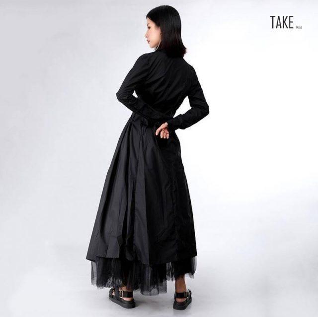 New Fashion Style Button Bandage Stitch Pleated Irregular Shirt Dress Fashion Nova Clothing TAKE IMAGE