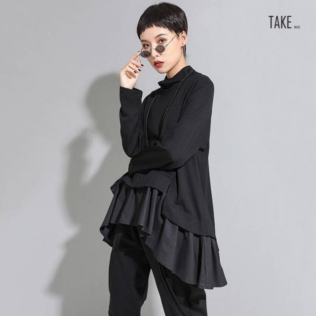 New Fashion Style Asymmetrical Ruffles Sweat Shirt Fashion Nova Clothing TAKE IMAGE