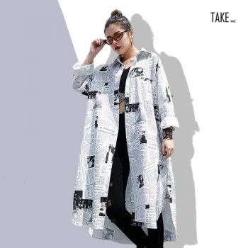 New Fashion Style Lapel Long Sleeve White Printed Loose Irregular Shirt Blouse Fashion Nova Clothing TAKE IMAGE