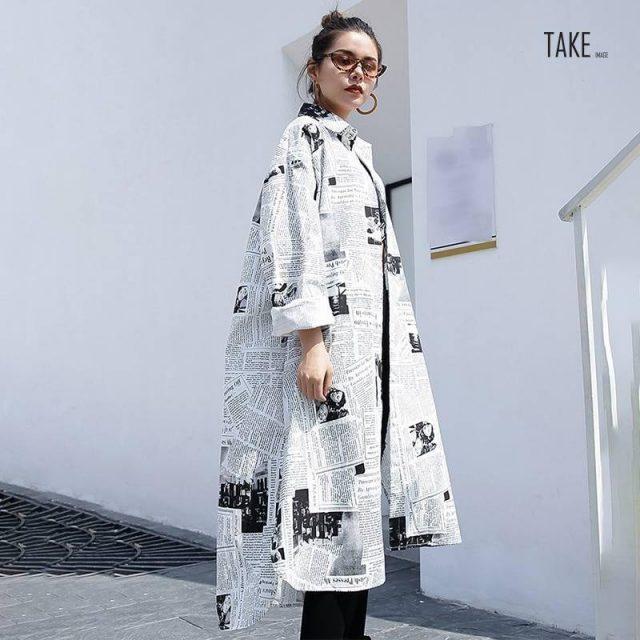 New Fashion Style Lapel Long Sleeve White Printed Loose Irregular Shirt Blouse Fashion Nova Clothing TAKE IMAGE