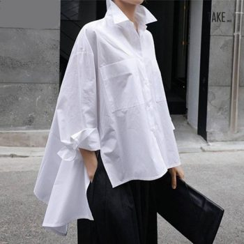 New Fashion Style White Back Long Loose Big Size Irregular Shirt Fashion Nova Clothing TAKE IMAGE