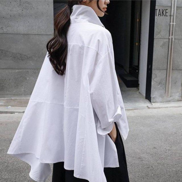 New Fashion Style White Back Long Loose Big Size Irregular Shirt Fashion Nova Clothing TAKE IMAGE
