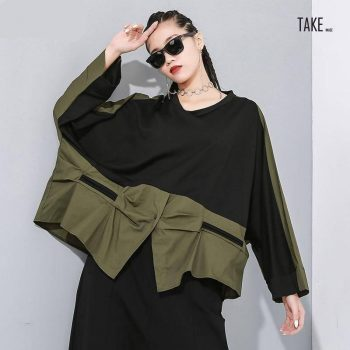 New Fashion Style Green Contrast Color Asymmetrical Shirt Blouse Fashion Nova Clothing TAKE IMAGE