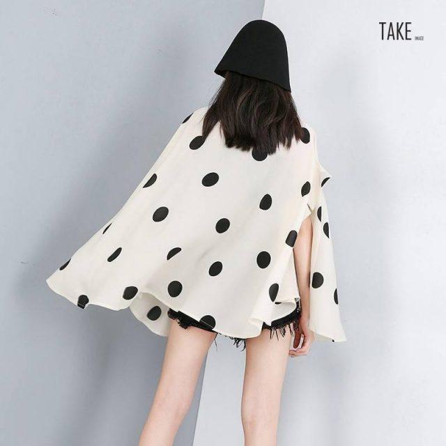 New Fashion Style Lapel Half Sleeve Black Dot Printed Shirt Blouse Fashion Nova Clothing TAKE IMAGE
