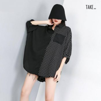 New Fashion Style Three Quarter Sleeve Dot Printed Split Joint Shirt Blouse Fashion Nova Clothing TAKE IMAGE