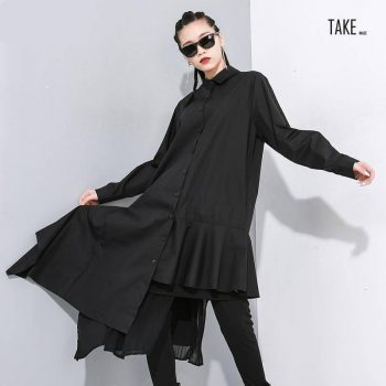 New Fashion Style Black Asymmetrical Pleated Long Blouse Fashion Nova Clothing TAKE IMAGE