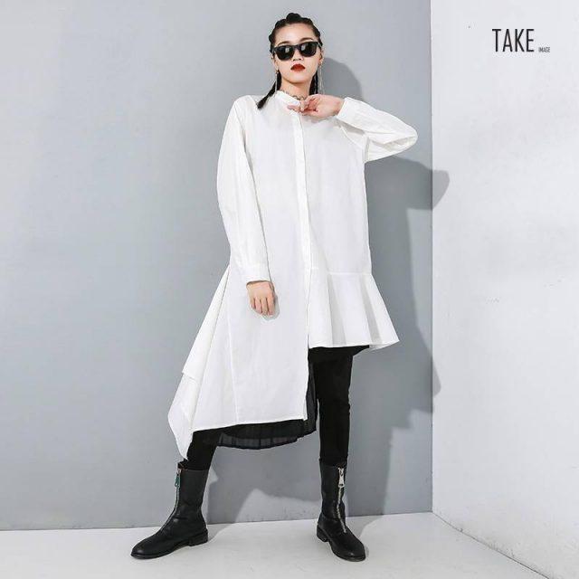 New Fashion Style Black Asymmetrical Pleated Long Blouse Fashion Nova Clothing TAKE IMAGE