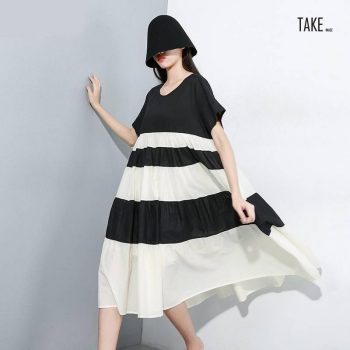 New Fashion Style Black Striped Pleated Temperament Dress Fashion Nova Clothing TAKE IMAGE