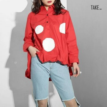 New Fashion Style Dot Hem Ruffles Pleated Irregular Shirt Fashion Nova Clothing TAKE IMAGE