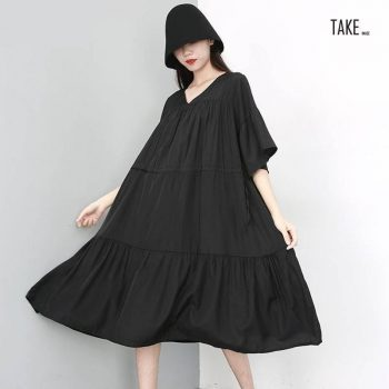 New Fashion Style Half Sleeve Black Pleated Split Joint Temperament Dress Fashion Nova Clothing TAKE IMAGE