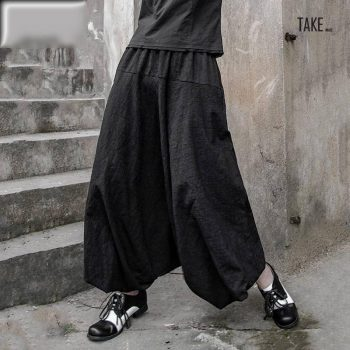 New Fashion Style High Elastic Waist Black Line Split Joint Wide Leg Pants Fashion Nova Clothing TAKE IMAGE